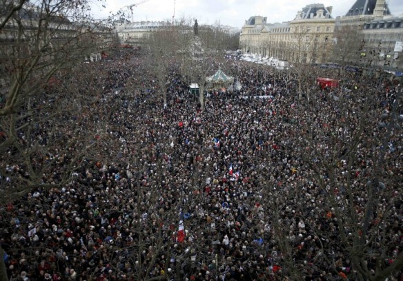 Hundreds of thousands of people gather on the Place de la Republique to attend the solidarity march (Rassemblement Republicain) in the streets of Paris
